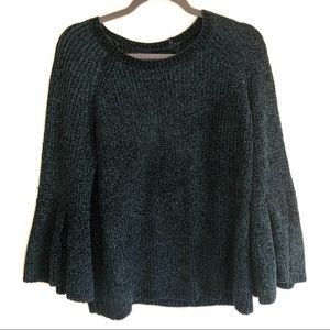 ANA Green Chenille Bell-sleeved Super Soft Sweater